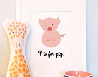 P is for Pig woodland animal portrait nursery illustration print 8x10 5x7
