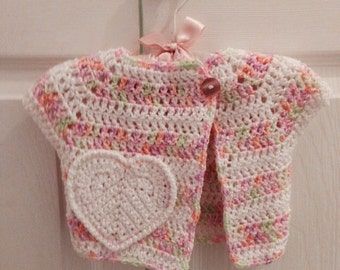 3-6 Months Pink & white striped baby girl Crochet Sweater