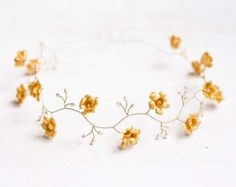 52_Gold headband, Wedding hair accessories, Circlet of flowers, Flower crown, Wedding tiara, Wedding diadem First Communion headband Circlet