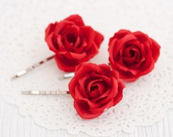 71_Red rose, Hair accessories, Hair pins, Flower pins, Floral pin, Rose pins, Red wedding, Floral wedding Flower hair accessories Bridesmaid