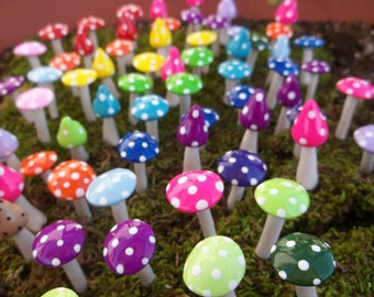 FREE US Shipping 10 miniature mushrooms fairy garden accessories gnome pixie minature terrarium miniature for elf garden woodland miniature