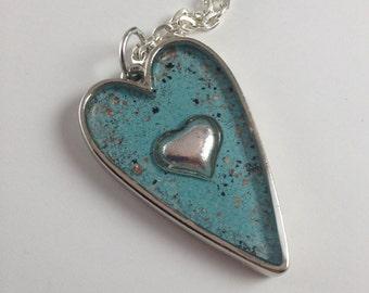 Turquoise Heart Pendant  Valentine Gift Enameled Heart