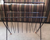 Tony Paul-Style Abstract Metal Wire Magazine Rack with Wood Ball Feet