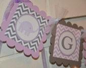 Elephant Baby Shower banner, mod elephant, gifts banner, lavendar and grey, GIFTS banner, elephant banner