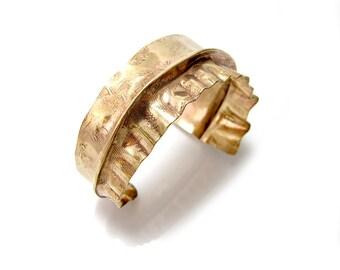 Tapered Brass Cuff - Triangle Shaped Cuff Bracelet - Asymmetrical Cuff - Bold Brass Jewelry - Rustic Brass Bracelet - Hammered Brass Cuff
