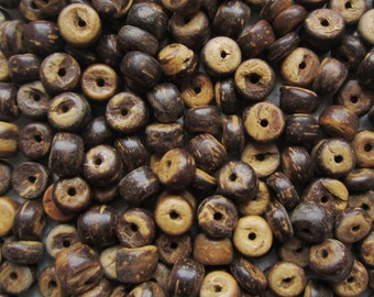 Brown Coconut Heishi Beads, 5 mm -- 150 spacer beads