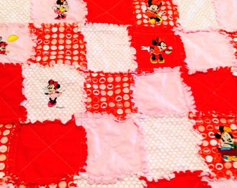 Sale Minnie Mouse Rag Quilt Red and Pink with Machine Embroidered Minnie Mouse