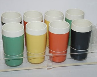 Vintage Gits-Ware Cups and Acrylic Coasters and Caddy Set of Eight