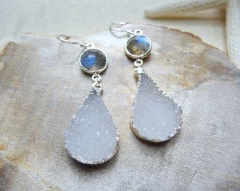 SALE, Druzy Earrings, Druzy White Earrings, Labradorite Jewelry, Sterling Silver Bezel Earrings, Silver Drop Earrings, Jewelry Gifts For Her