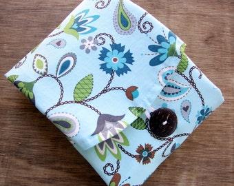 "Organic Reusable Sandwich Cotton Wrap 19 X 13"" -- Double Layer Organic Unbleached Cotton Muslin & Organic Cotton Print"