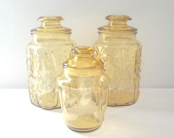 Vintage Amber Apothecary Canister Jars - Tall Large Apothecary Containers - Boho Decor Storage