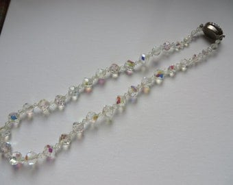 White Vintage Aurora Borealis Beaded Necklace