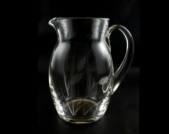 Water Pitcher - Lemonade Pitcher - Iced Tea Pitcher with Gray Cut Wheat Pattern - 64 oz / Half Gallon - Vintage - 1940s - 1950s -1960s