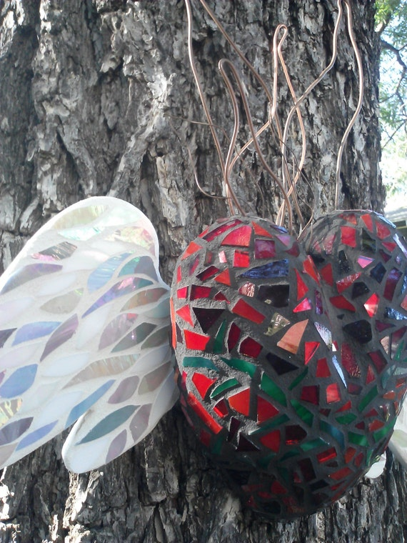 winged heart stained glass mosaic heart by humptydumptymosaics - photo#15