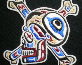 Large Embroidered Tribal Skull and Crossbones Iron On Applique Patch, Tottoo Style, Biker Patch, Gothic, Day of the Dead Skull