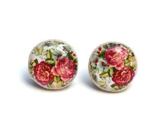 Pink floral stud earrings  wood earrings flower studs tiny stud earrings flower post earrings  Wood jewelry.  Starlight woods. Eco friendly