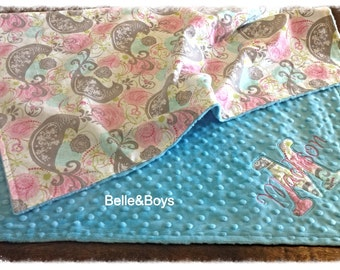 "Turquoise pink bird personalized minky blanket- large 30""x40"""