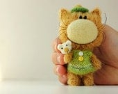 Cat with mouse - OOAK artist toy by Farberova Olga - Friend of Teddy Bear - Miniature collectible toy