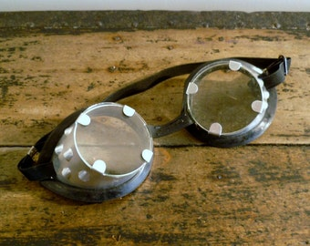 Steampunk Safety Goggles Glasses French Retro Eyewear 1970s Glass and Zinc
