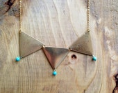triangle & turquoise statement necklace