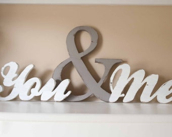 You and Me Wood word sign, you & me home decor