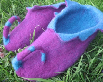 Elf shoe, felt shoe slipper, shoes, wool, felt, Gr. 40 D and EU, 6 1/2 UK, 9 Us