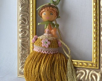 Country Girl Decorative Tassel, Country Decor, Tassel, Ornament, Hostess Gift, Doll Tassel, Pink and Gold, Repurposed Gift, cottage chic