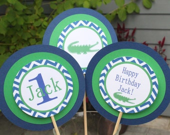 PREPPY CHEVRON ALLIGATOR Birthday or Baby Shower 3 Piece Centerpiece Blue Green - Party Packs Available