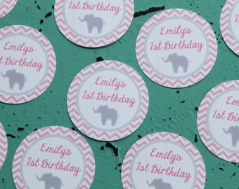 PREPPY CHEVRON ELEPHANT Theme Party Happy Birthday Baby Shower Favor Tags or Stickers 12 {One Dozen} Pink Grey - Party Packs Available
