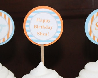 PREPPY NAUTICAL Theme Birthday or Baby Shower Baby Shower Cupcake Toppers Set of 12 {One Dozen} Light Blue Orange - Party Packs Available