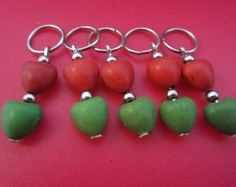 A set of 5 heart shaped howlithe bead stitch markers for knitting - fits needles up to size 4.00 mm