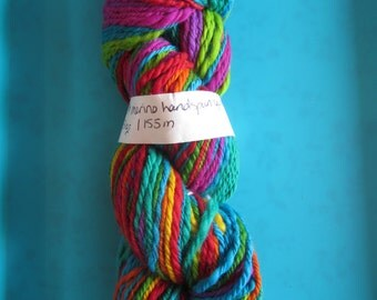Hand spun  merino and angelina yarn - blue, red, green, yellow - sport weight/dk