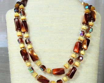 Vintage Double Strand Crystal Necklace