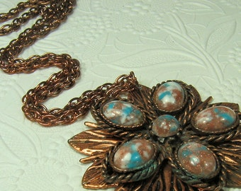 Vintage Copper tone Pendant Necklace with Marbled Cabachons