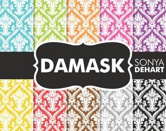80% OFF Sale Damask Digital Paper, Digital Paper Damask, Damask Paper, Colorful Damask, Damask Patterns, Wedding Damask, Digital Damask