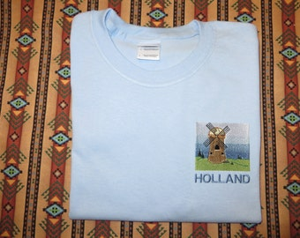 Embroidered T shirt Windmill Holland