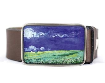 Van Gogh Belt Buckle, Wheat Field Belt Buckle, Fine Art, Blue and Green, resin belt buckle