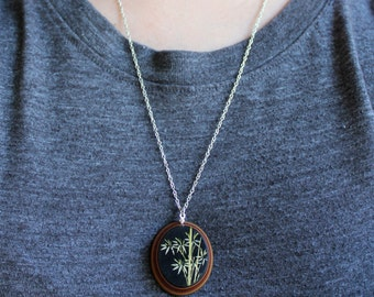 Vintage Bamboo Cameo Necklace