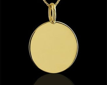 Engravable Round  Plain Disc Solid 14K Gold Pendant Necklace