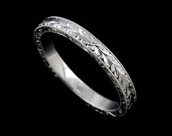 Hand Engraved Wedding Ring, Art Deco Style Wedding Band, Scroll Wheat Engraved Milgrain Flat Wedding Ring, Straight Gold Wedding Ring 2.5mm