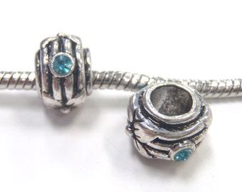 3 Beads - Blue Rhinestone Silver European Bead Charm E1122