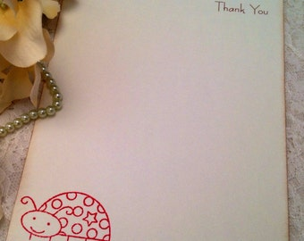 Red Lady Bug Cards Thank You Notes for Baby Girls and Children