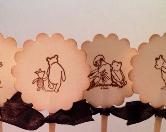 Cupcake Toppers Pooh Cake Toppers Decorations-Baby Shower Birthday Party Cupcake Picks-Set of 12