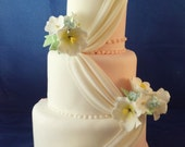 Fondant Faux 4-tier Wedding Cake with Drapery