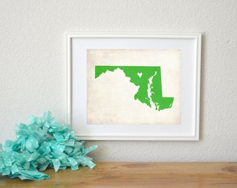 Maryland Love State Map Personalized Art 8x10 Print.