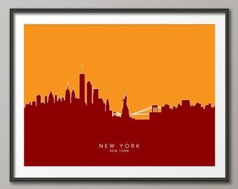 New York Skyline, NYC Cityscape Art Print (657)