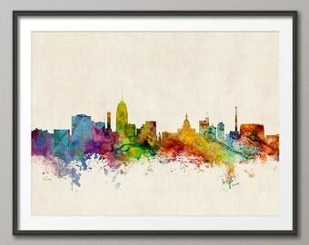 Lansing Skyline, Lansing Michigan Cityscape Art Print (1006)