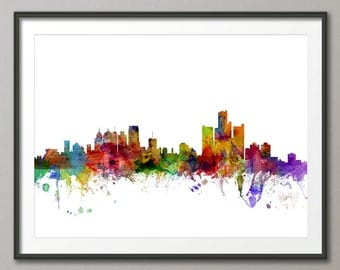 Detroit Skyline, Detroit Michigan Cityscape Art Print (1211)
