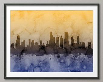 Chicago Skyline, Chicago Illinois Cityscape Art Print (1247)