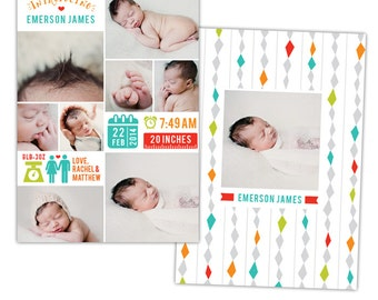 INSTANT DOWNLOAD - Photoshop Birth announcement template -  e1059